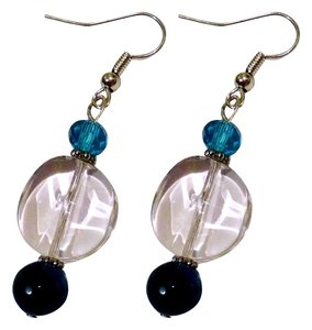 Robyn-Lyn NEW HANDMADE EARRINGS W/ CLEAR GLASS, BLUE CRYSTAL AND AFRICAN TURQUOISE STONE J133