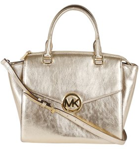 Michael Kors Cross Body Strap Satchel in Gold