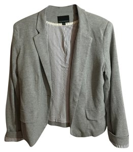 Cynthia Rowley heather gray lined with black and white stripes Jacket
