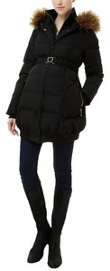 Momo Maternity Macy Hooded Channel Quilted Down Puffer Coat