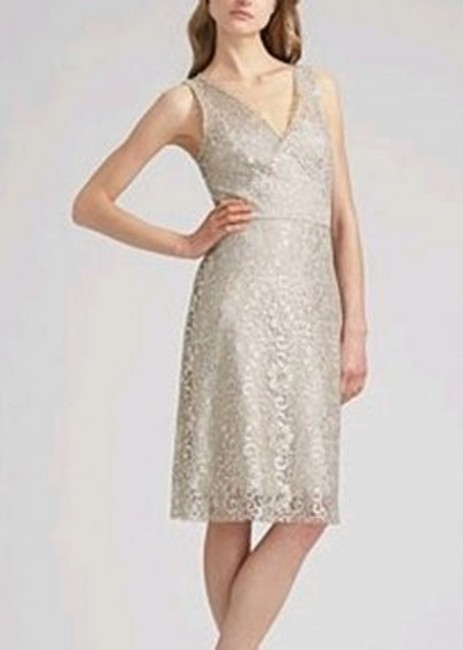 Item - Beige with Silver Lace Metallic Over Creamy Slip Lynette Qjc61062-040 Formal Wedding Dress Size 4 (S)