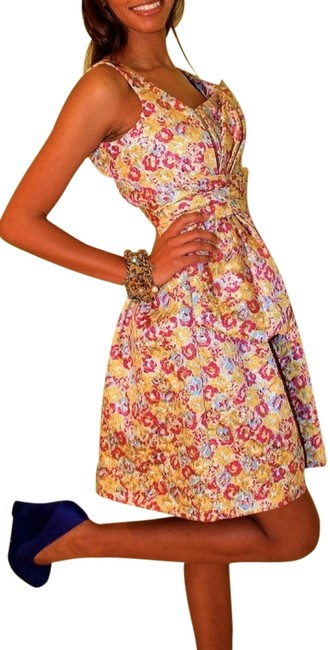 Zac Posen for Target Brocade Tie Print Raspberry Cerulean Yellow Golld Zippers Asymmetrical Yellow Unique Knee Length Girly Vintage Dress