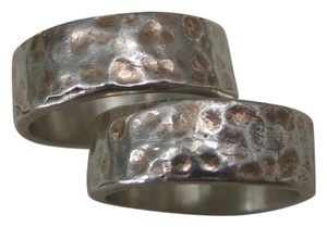 Pair of hammered sterling rings