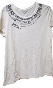 Ann Taylor LOFT T Shirt ivory with black design