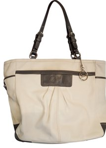 Coach Leather Satchel in Ecru and gray