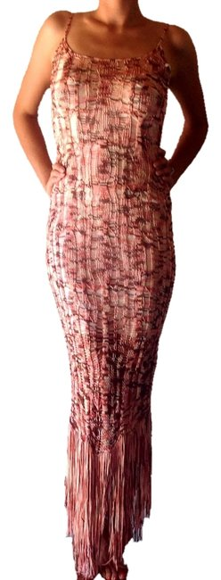 Item - Rose & Brown Crochet Fringe Long Night Out Dress Size 4 (S)