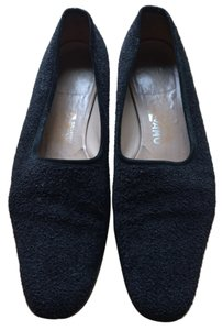 Salvatore Ferragamo Boucle Fabric Black Flats