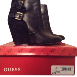 Guess Wedges Buckle Leather Suede 8.5 Black Boots