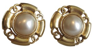 Chanel CHANEL 18KT GOLD-PLATED AND PEARL C C EARRINGS