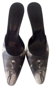 J Con Italy Leather Painted Gray Mules