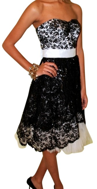 Betsey Johnson Vintage Classic Cocktail Asymmetrical Tuxedo And Sequins Lace Floral Sweetheart Tulle Tutu Discontinued Rare Dress