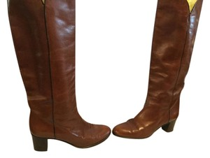 Delman Stack Wood Heels Made Italy Brown leather cream leather lining Italian E37 knee Boots