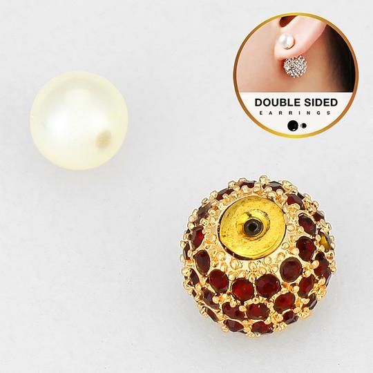 Other Double Sided Crystal Ball Pearl Stud Earrings Image 1