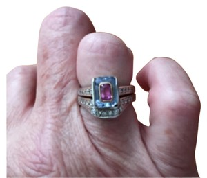 Lavender Sapphire with inlaid Pink Sapphire Ring with Diamonds and matching diamond band ring - Wedding set