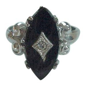 Other Vintage Sterling Silver Marquise Black Onyx Diamond Accent Ring