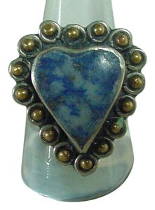 Artisan Crafted Vintage Silver Ring Heart Shape Blue Lapis Stone Brass Accents