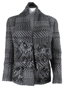 Chanel Scarf Sequin Wool Gray Jacket
