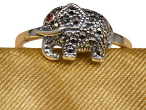 Elephant Faceted Garnet Color CZ, Marcasite Gemstone Ring Size 7.75