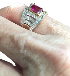 Laura Ramsey Rubellite Pink Tourmaline and White Diamond Ring set in 14k yellow gold.