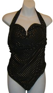Pure Energy WIMSUIT 20W NW0T BY PURE ENERGY BLACK W GOLD DOTS HALTER RUCHED SLIMMING HALTER