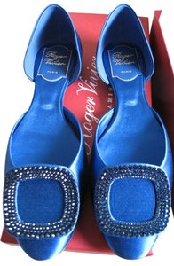 Roger Vivier Paris Crystal Blue Flats
