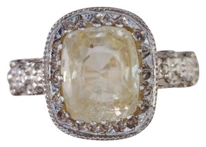 Vintage Yellow Sapphire Ring - Two Tone Gold