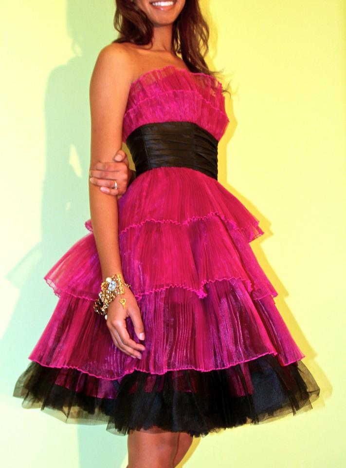Betsey Johnson Raspberry Chiffon Tiered Satin Party Cocktail Vintage