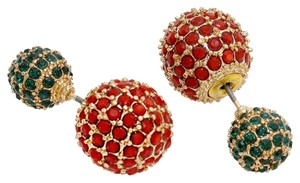 Red and Green Double Sided Crystal Ball Pave Stud Earrings