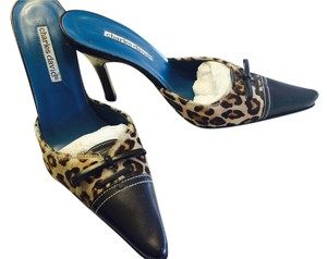 Charles David Heels Bow Leather Leopard Mules