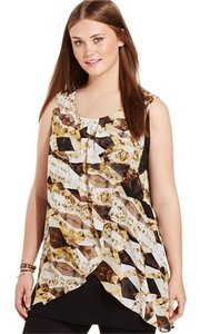 Macy's Brand: Style & Co Pattern:multi Print Sheer Overlay Front Lined Size Type:regularsleeve Style:sleeveless Size Chest 54 Top gold brown white