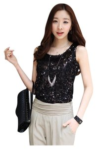 Versona Sequins Sleveless Under Shirt T Shirt Shining Sparkle Shimmer Night Out Cute Summer Beaded Medium Size Top Black