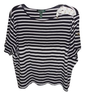 Lauren Ralph Lauren T Shirt Navy and White