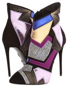 Giuseppe Zanotti Crystal 39.5 Black Swarovski Multi Color Patchwork Boots