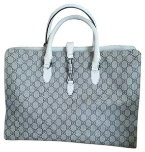 Gucci Leather Pvc Work Tote in Beige GG Logo