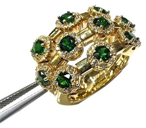 Sonia B. SONIA B. 14 Karat Gold Flexible Ring With Green Tourmalines & Diamonds