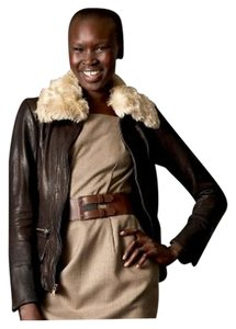 Banana Republic Leather Real Shearling Bomber Aviator Removable Collar Brown Leather Jacket