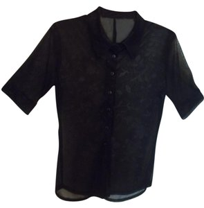 Aziz Provacative Sheer Top Black