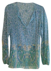 Elie Tahari Top Turquoise green blue yellow bohemian