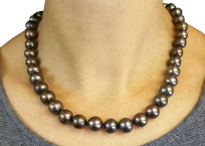 Other Black Pearl necklace 10mm RD with 18k Solid Yellow Gold Fish Lock,17in