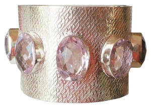 Other LARGE Pink Topaz 925 Sterling Silver Cuff Bracelet