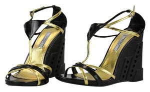 Prada Black/Gold Wedges