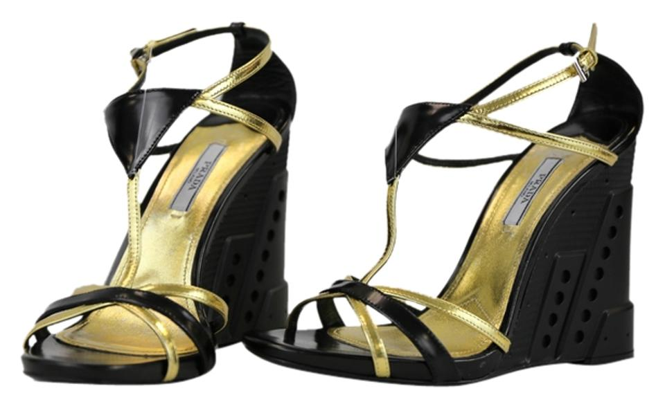 67be3900d42 Prada Black Wedge-heel Strappy Gold/Black Sandals - Wedges Size US 9  Regular (M, B) 78% off retail