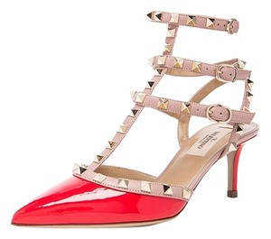 Valentino Rockstud Studded Spikes Heels Deep Orange Pumps