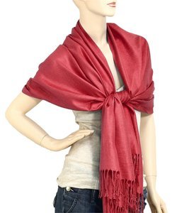 Other Burgundy Pashmina Silk Scarf Wrap Shawl