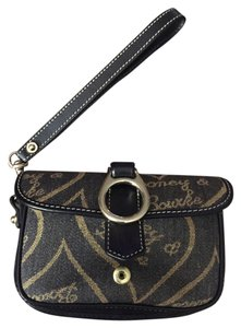 Dooney & Bourke Fabric Leather Trim Wristlet in Black and Brown