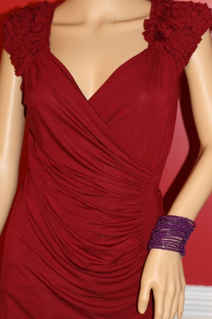Bailey 44 44 Ruffle Stretch V-neck Red Burgundy Wine Women Clothing Cap Sleeve Short Sleeve Small Medium Spandex Ruched Top Merlot