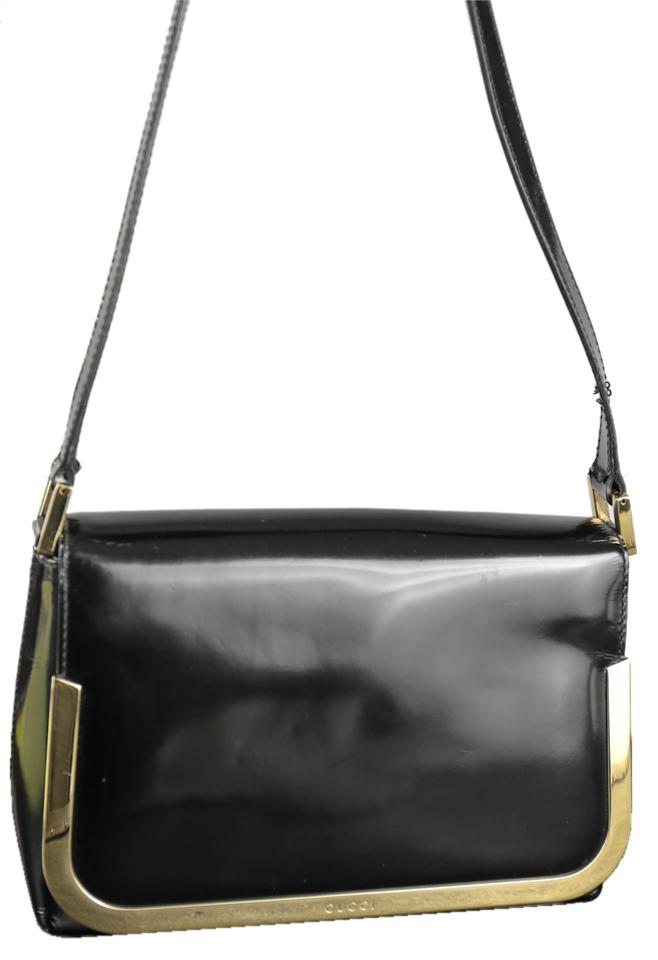 97cc78c46 Gucci Flap Black/Gold Patent Leather Shoulder Bag - Tradesy