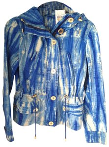 Michael Kors Mmk Amalfi Blue Leather Jacket