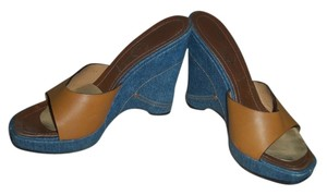 Casadei Mules Heels Blue Denim and Brown Leather Wedges