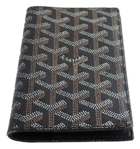 Goyard Goyard Black Brown Goyardine Monogram Bifold Checkbook Slip Wallet Cover.